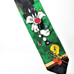 Sylvester Playing Pool with Tweety Bird Necktie
